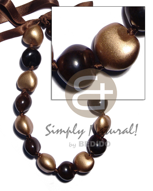 Kukui Nuts Ribbon Black Painted Lumbang Seed Gold Kukui Lei Necklace BFJ1925NK