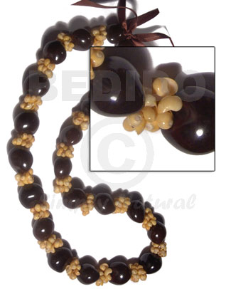 Kukui Nuts Ribbon Brown Lumbang Seed Mongo Yellow Shell Kukui Lei Necklace BFJ053LEI