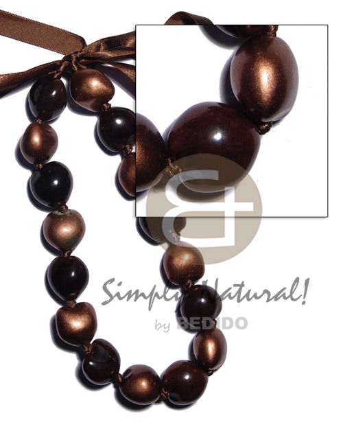 Kukui Nuts Ribbon Brown Painted Lumbang Seed Bronze Kukui Lei Necklace BFJ1924NK