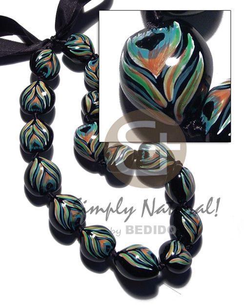 Kukui Nuts Ribbon Peacock Hand Painted Lumbang Seed Kukui Lei Necklace BFJ3105NK