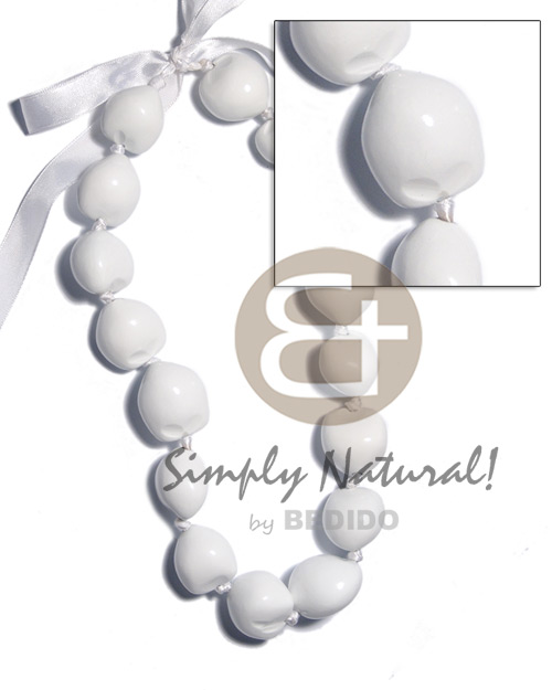 Kukui Nuts Ribbon White Painted Lumbang Seed Kukui Lei Necklace BFJ2020NK