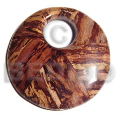 Laminated 70 mm Round Banana Bark Wood Pendants - Wooden Pendants BFJ6346P