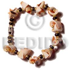 Luhuanus Red Everlasting Glass Beads Natural Sea Shell Bracelets BFJ5133BR