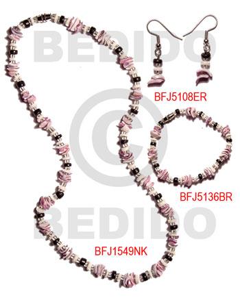 Luhuanus Shell Natural Set Jewelry 18 in necklace 7.5 Bracelets Earrings Set Jewelry BFJ034SJ