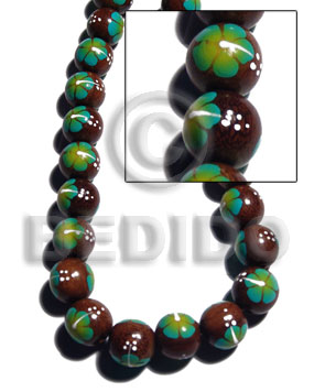 Madre de Cacao 15 mm Painted Aqua Green White Flower Wood Beads - Painted Wood Beads BFJ371WB