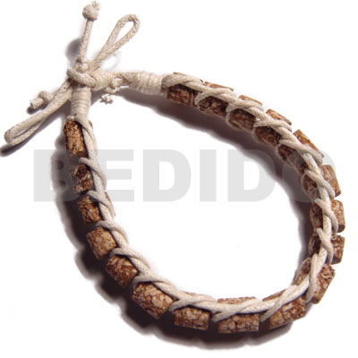 Mahogany Cylinder Tube Macrame Wax Cord Beige Wood Bracelets BFJ5266BR
