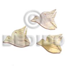 MOP Mother of Pearl Bird 20 mm Pendants - Shell Pendants BFJ5057P