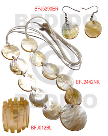 MOP Mother of Pearl Set Jewelry Long necklace Bangles Earrings Natural Set Jewelry BFJ014SJ