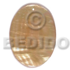 Mother of Pearl 40 mm Oval Yellow MOP Pendants - Simple Cuts BFJ6214P