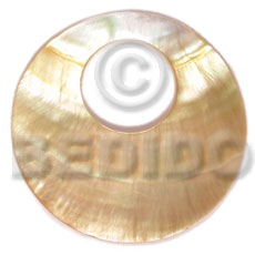 Mother of Pearl 40 mm Round Yellow MOP Pendants - Simple Cuts BFJ6228P