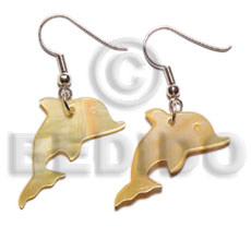 Mother-Of-Pearl Dolphin 30 mm Dangling Yellow Shell Earrings BFJ5021ER