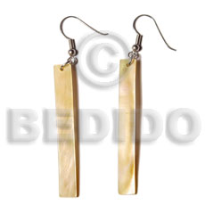 Mother of Pearl MOP 50 mm Bar Yellow Shell Earrings BFJ5027ER