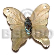 Mother of Pearl Paua Abalone 40 mm Butterfly Carvings Pendants - Shell Pendants BFJ5631P