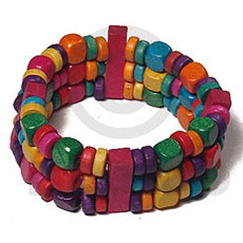 Multi-Color Red Green Orange Purple Wood Beads Elastic adjustable Wood Bracelets BFJ5479BR