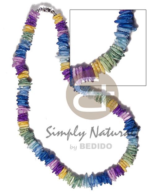 Multi-Color White Rose Puka Shell Square Cut Glass Beads Puka Shell Necklace BFJ3735NK