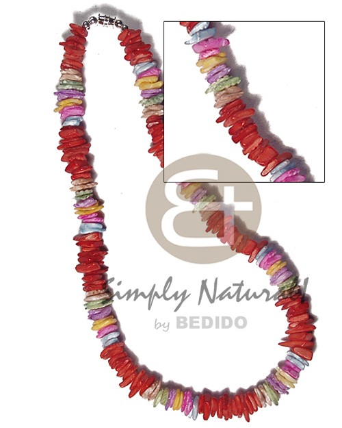 Multi-Color White Rose Puka Shell Square Cut Glass Beads Puka Shell Necklace BFJ3738NK