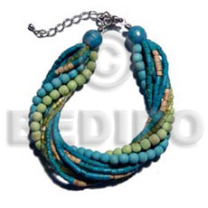 Multi Row Aqua Marine Coconut Heishi Glass Beads Coconut Bracelets BFJ5210BR
