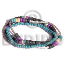 Multi Row Blue Lavender Black Pokalet Bleached White Glass Beads Coconut Coconut Bracelets BFJ5035BR