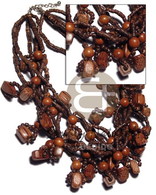 Multi Row Coconut Heishi Bayong Wood Palmwood Brown Wooden Necklaces BFJ2759NK