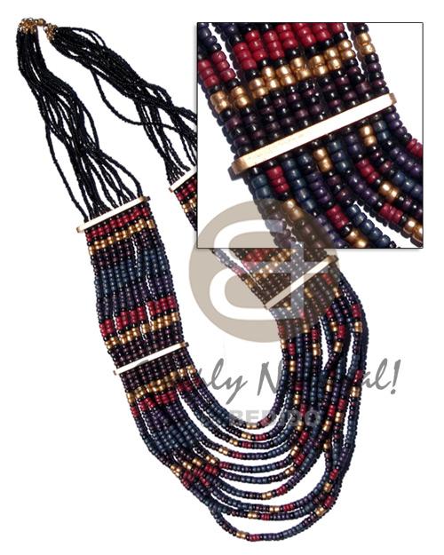 Multi Row Coconut Pokalet Glass Beads Coconut Necklace BFJ2141NK