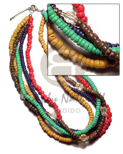 Multi Row Red Navy Blue Mustard Green Coconut Pokalet Coconut Necklace BFJ1570NK