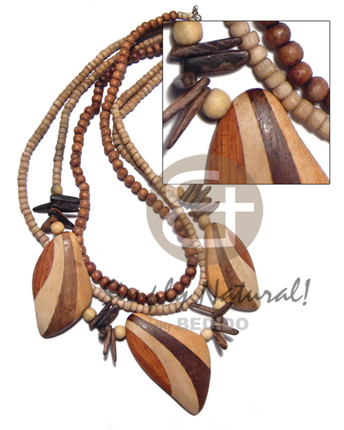 Multi Row Wood Beads Robles Wood Stick Patched Leaves Nangka Wood Coconut Wooden Necklaces BFJ3526NK