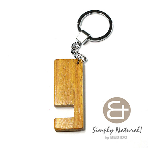 Nangka Wood Yellow 64 mm x 24 mm x 5 mm Hardwood Chrome Keychain IPHONE ANDROID ACCESSORY BFJ086KC