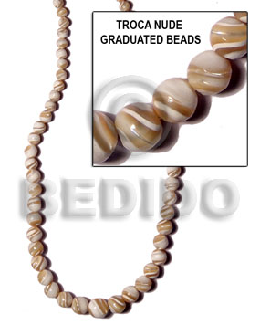 Natural 16 inches Trocha Shell Graduated Round Shell Round Shell Beads BFJ085SPS