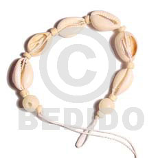 Natural 7.5 inches Sigay Cowry Shell Macrame Sea Shell Bracelets BFJ396BR