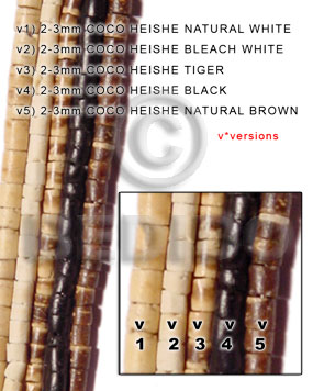 Natural Brown 16 inches Coconut Heishi 2-3 mm Natural Coco Heishe Beads BFJ001CH_V5
