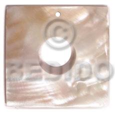 Natural Kabibe Shell Square 40 mm Natural Pendants - Simple Cuts BFJ6234P