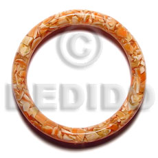 Natural Luhuanus Red Everlasting Resin Solid 10 x 65 mm Bangles - Shell Bangles BFJ008BL