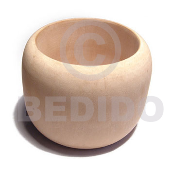 Natural Plain 70 mm inner diameter Solid Ambabawd Wood Natural Dome Bangles - Plain BFJ671BL