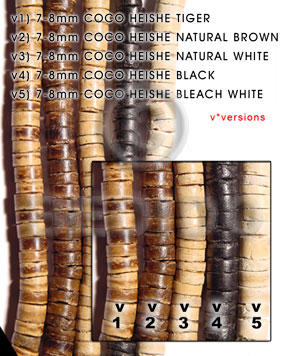 Natural White 16 inches Coconut Heishi 7-8 mm Natural Coco Heishe Beads BFJ013CH_V3
