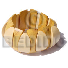 Natural Yellow Nangka Wood Ambabawd Wood Coated Elastic Bangles - Wooden Bangles BFJ023BL
