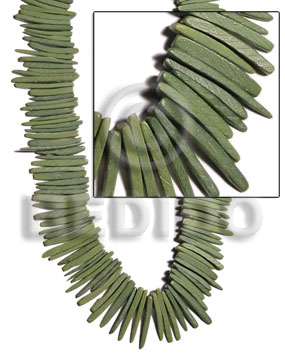 Olive 16 inches Coconut Stick 2 inches Dyed Coco Stick Beads BFJ015CSPS