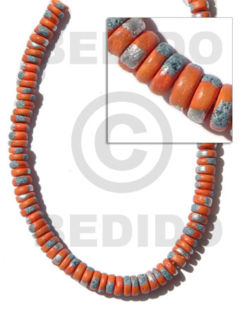 Orange 16 inches Coconut 4-5 mm Pokalet Painted Coco Splashing Beads BFJ014SPL