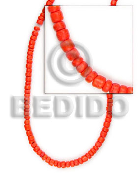 Orange 16 inches Coconut Pokalet 4-5 mm Dyed Coco Dyed colored beads BFJ009PT