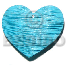Painted Heart Aqua Blue 50 mm White Wood Pendants - Wooden Pendants BFJ6082P