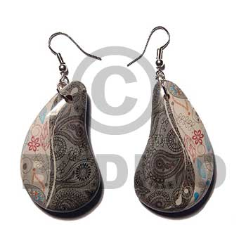 Paisley Wrapped Laminated Resin Printed Wood Earrings BFJ5751ER
