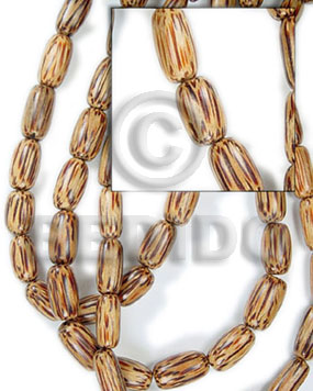 Palmwood 20 mm Capsule Brown Wood Beads - Tube and Heishe Wood Beads BFJ081WB