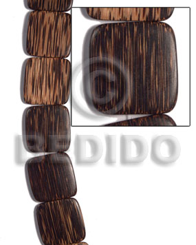 Patikan Wood Hardwood Face to Face Flat Square 35 mm Brown Wood Beads - Flat Square Wood Beads BFJ473WB