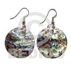 Paua Abalone Dangling Round 35 mm Shell Earrings BFJ418ER