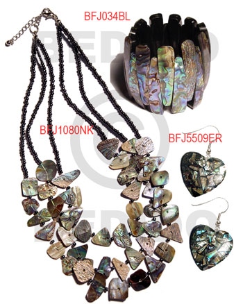 Paua Abalone iridescent Set Jewelry 18 in necklace Bangles Earrings Set Jewelry BFJ011SJ