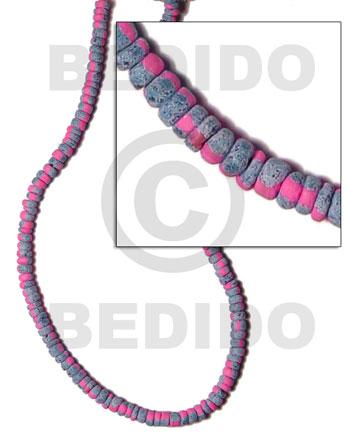 Pink 4-5 mm Coconut Pokalet Painted Coco Pokalet Beads BFJ036SPL