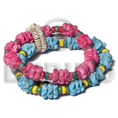 Pink Blue Flower Elastic Green Shell Coconut Heishi 7.5 inches Coconut Bracelets BFJ5449BR