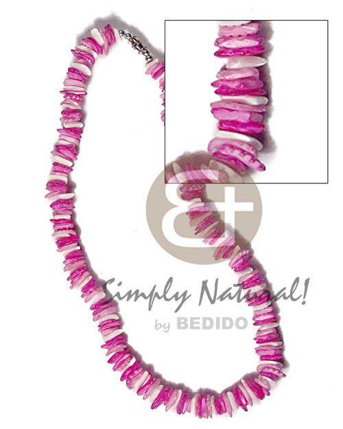 Pink White Rose Puka Shell Square Cut Glass Beads Alternate Puka Shell Necklace BFJ3740NK
