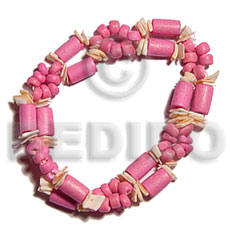 Pink Wood Beads Tube Coconut Beads Pokalet Pink Rose Shell 7.5 inches Elastic Wood Bracelets BFJ5078BR