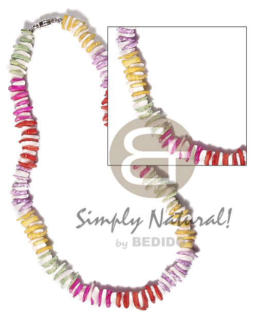 Rainbow White Rose Puka Shell Square Cut Glass Beads Yellow Red Puka Shell Necklace BFJ3726NK
