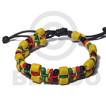 Rasta Green Yellow Red Macrame Wood Beads Wood Bracelets BFJ5475BR